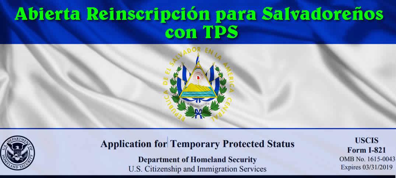 abierta Reinscripción para Salvadoreños con Estatus de Protección Temporal