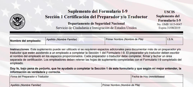 Nuevo Formulario I-9 Para Nuevas Contrataciones en Estados Unidos
